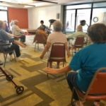 Chair Yoga class in the Watermark at East Hill fitness center.