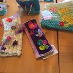 The Watermark at East Hill: Some of the twiddle muffs made by residents and associates.